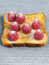 French toast with raspberries and sugar Stock Photos