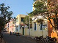 French town pondicherry one of the lovely street in the of india Stock Photos
