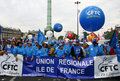 French trade union CFTC demonstrate in Paris Stock Photo