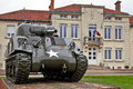 French us tank romagne france may a ww sherman sits on static display outside the mairie of romagne in commemoration to fallen Stock Photos