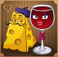 French Wine and Cheese Characters Royalty Free Stock Photos