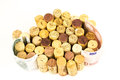 French wine corks background of assorted close up with money Royalty Free Stock Photo