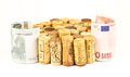 French wine corks background of assorted close up with money Stock Images