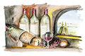 French wine isolated Stock Image
