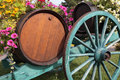 French wine village vineyard wine barrels and cart, grape harvest Royalty Free Stock Photo