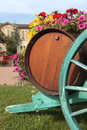 French wine village vineyard wine barrels and cart, vertical Royalty Free Stock Photo