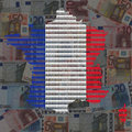 French workforce map on euros Royalty Free Stock Image