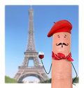 Frenchman in red beret and scarf Stock Image