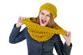 Frenchwoman young attractive in knitted hat and scarf isolated on white background Stock Photography