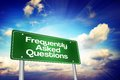 Frequently Asked Questions (FAQ) Green Road Sign, Business Concept Royalty Free Stock Photo