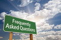 Frequently Asked Questions Green Road Sign Royalty Free Stock Photo