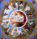 Fresco with adam and eve stories from the bible christian orthodox various saints text genesis Stock Image