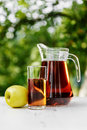 Fresh apple juice in trees garden at summer Royalty Free Stock Photos