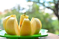 Fresh apple slices food diet without too many calories against blurred background Stock Images