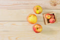 Fresh Apples in a wooden crate Royalty Free Stock Photo