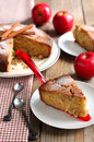Fresh applesauce cake wooden table Stock Image