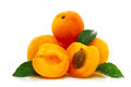 Fresh apricots isolated on white background juicy Royalty Free Stock Image
