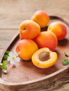 Fresh apricots on wooden plate selective focus Royalty Free Stock Photo