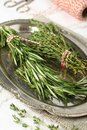 Fresh aromatic herbs rosemary and thyme on metal plate Stock Images
