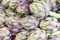 Fresh artichokes at the market Royalty Free Stock Photo