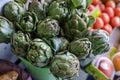 Fresh artichokes for sale at farmer`s market. Royalty Free Stock Photo