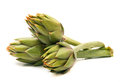 Fresh artichokes on white background Stock Images