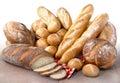 Fresh artisan breads baked on tile Royalty Free Stock Image