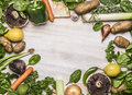 Fresh autumn fruits and vegetables and mushrooms and fresh herbs  frame lined top view close up Royalty Free Stock Photo