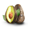 Fresh Avocado Fruit on White Background Royalty Free Stock Photos