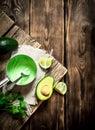 stock image of  Fresh avocado sauce, lime and herbs.