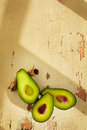 Fresh avocado on wooden background Stock Photography