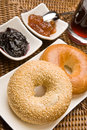 Fresh bagels with jam Royalty Free Stock Images