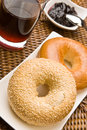 Fresh bagels with jam Stock Photography