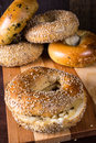 Fresh baked bagels from the bakery Stock Photography