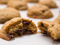 Fresh baked cookies chocolate chips Royalty Free Stock Images