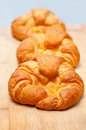 Fresh baked french croissant brioche on wood board Stock Images