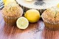 Fresh baked lemon poppyseed muffins adn lemons and poppyseeds Royalty Free Stock Photography
