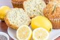 Fresh baked lemon poppyseed muffins adn lemons and poppyseeds Stock Image