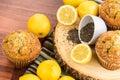 Fresh baked lemon poppyseed muffins adn lemons and poppyseeds Stock Images