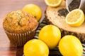 Fresh baked lemon poppyseed muffins adn lemons and poppyseeds Stock Photography