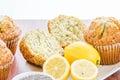 Fresh baked lemon poppyseed muffins adn lemons and poppyseeds Royalty Free Stock Photos