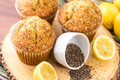 Fresh baked lemon poppyseed muffins adn lemons and poppyseeds Royalty Free Stock Photo