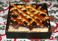 Fresh baked plum cake on christmas table Royalty Free Stock Photo