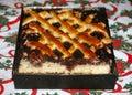 Fresh baked plum cake on christmas table Royalty Free Stock Photo