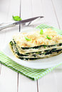 Fresh baked vegetarian spinach lasagna on a plate serving of over napkin and an old white wooden table Stock Photography