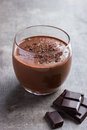 Fresh banana and chocolate smoothie in glass Royalty Free Stock Photo