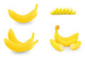 Fresh banana and slices on white background Stock Photo