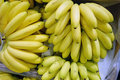 Fresh bananas in boxes heap ripe supermarket top view Stock Photos