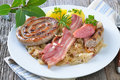 Fresh bavarian meat and sausages Royalty Free Stock Photos