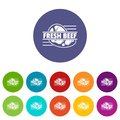 Fresh beef icons set vector color Royalty Free Stock Photo